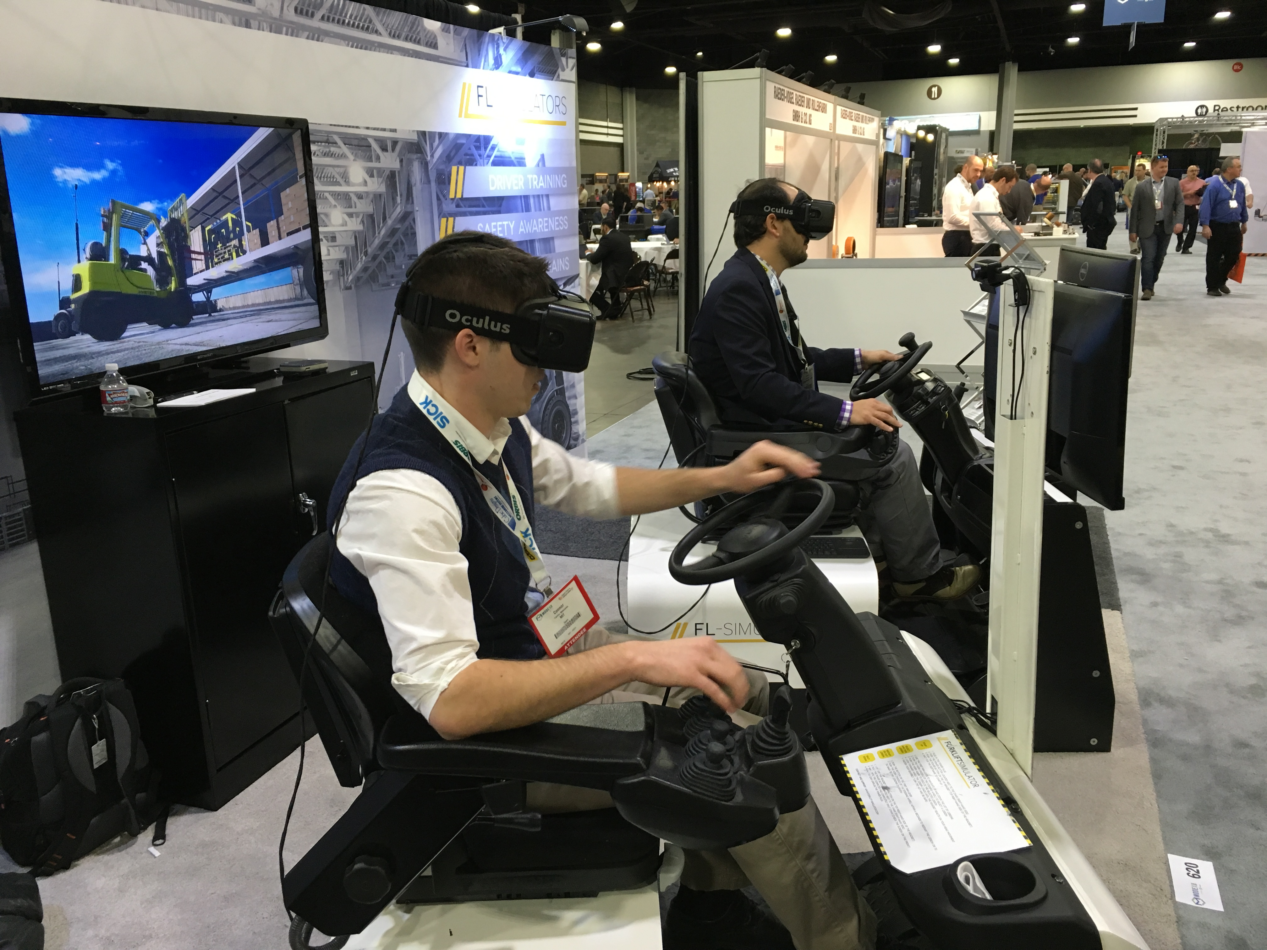 Simulator designed to train new employees on how to operate a forklift in VR.